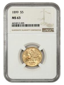 1899 $5 NGC MS63 - Liberty Half Eagle - Gold Coin