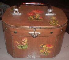 Vintage Mushroom Purse Wood Wooden Sewing Box Kit Decoupage Plastic Handle Felt