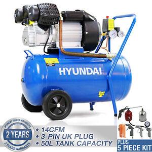 50L Ltr Litre Air Compressor  V Twin 3hp 2.2kw 115psi 8bar 14cfm 5pc toolkit