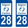 Département 28 sticker 2 autocollants style immatriculation AUTO PLAQUE Centre