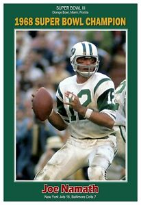 "Joe Namath 1968 Super Bowl Champion 13""x19"" Commemorative Poster"