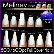 500/600pc Full Cover False Nails Square Short Long Fake Nail Tips Coffin Almond