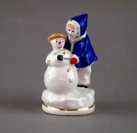 Russian girl plays with snowman USSR russian porcelain figurine Vintage 2826u