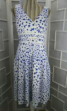 NWT Sz 6 PS.. Style White With Blue Flowers V Neck Sleeveless Pleated Knee Dress