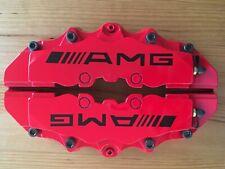 "Red AMG Brake Caliper Covers 9"" for Rear for Universal Car (BLACK SCREWS)"