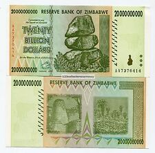 Zimbabwe Genuine 2008 20 Billion Money Banknote Circulated Currency x 10 Pieces