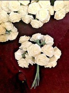 HUGE lot of 288 White Satin Ribbon Roses Flowers