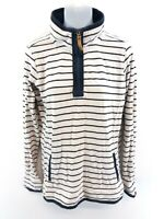 FAT FACE Womens Jumper Sweater 12 White Blue Stripes Cotton 1/4 Zip