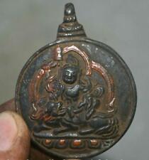 6CM Old Tibetan Bronze Painting Yellow Jambhala Wealth God Buddha Amulet Pendant