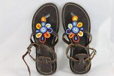 Sandales Femme Fabriqué à la main en cuir perles embelli Sandales envoi gratuit