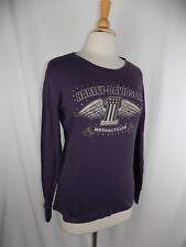 Harley Davidson Motorcycles Purple Sequin Eagle Wings L/S Shirt Women's XL