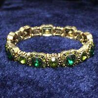 Green Emerald Turkish Vintage Round Tennis Stretchy Bracelet Women Jewelry VB31