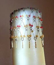 Party Lite Light Candle Chains Red & Orange Bead Gold Metal Pair Christmas