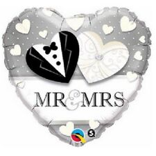 Mr & Mrs Hearts Silber 45.7cm Party Folien Ballon Dekoration Hochzeit Qualatex