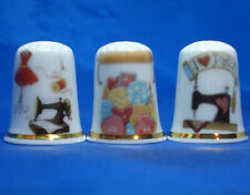 Birchcroft China Thimbles -- Set of Three -- Sewing Paraphernalia