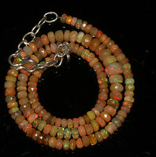 """62 Crts 4 to 6.5 mm 16"""" Faceted Beads necklace Ethiopian Welo Fire Opal 94578"""