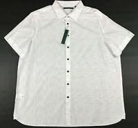 Men's Perry Ellis Dress Shirt Size Big and Tall 2XLT White Black Button Front