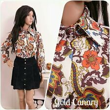 Vintage 60s 70s Orange Brown Daisy Floral Psych Mod Mini Tunic Blouse 16 18 44