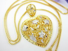 "Detail Heart Pendant + 22"" Chain 22K 24K Gold GP Necklace Thai Jewelry GT8"