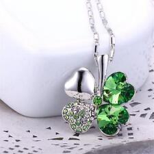 Lucky Crystal Four Leaf Clover Heart Pendant Necklace Charm Chain Women