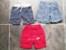Baby Boy's Navy & Red Summer Shorts x 3 Size 00 VGUC