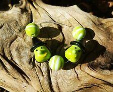 Handmade Glass Halloween Beads Lampwork Witch Green Black Jewelry Making Supply