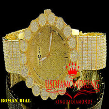 Khronos Real Diamond Joe Rodeo Yellow Gold Finish Cluster Bezel Iced Out Watch