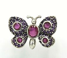 Ruby Butterfly Ring Ruby & Amethyst Ø 16.5 mm 925 Sterling Silver