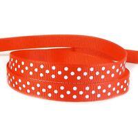 "10mm Polka Dot Grosgrain Ribbon By The Metre - White Spots - Many Colours - 3/8"""