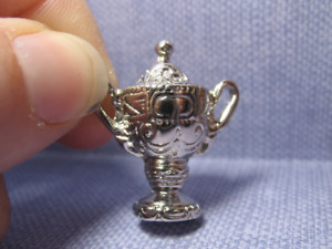 Tiny Silver Trophy Urn Chalice Vase compote French Feves Dollhouse Miniatures