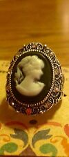 Vintage Antique Silver Cameo And Crystal Rhinestone Fashion  Ring Size 6 1/2