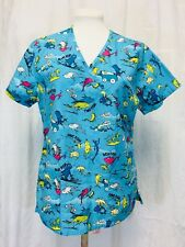 Dr Seuss Fish Scrubs Top Cherokee Uniforms Small Women's Pockets V Neck Blue