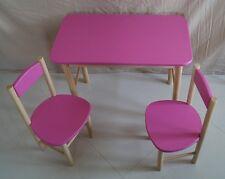 BAMBINI tavolo e 2 sedie classe in legno SOLIDO Mobili Da Giardino Patio ROSA