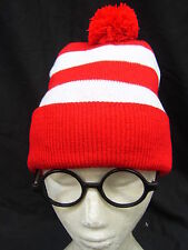 Red White Stripe Wally Hat & Glasses Wenda Costume Beanie Wally Wendy Waldo
