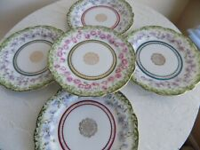 Set of 5 Antique Imperial China Austria bread and butter plates with flowers