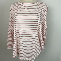 Seed Heritage Women's White and Red Stripe Drop Sleeve Top Size XS ~A15