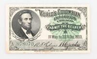 1893 Chicago World Fair Ticket UNC (World's Columbian Exposition) Admission