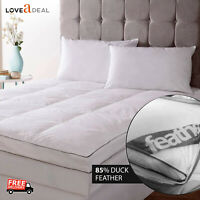 Super King Luxury Duck Feather & Down Quality Mattress Topper Cover Washable