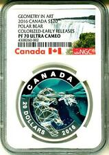 2016 Canada S$20 Geometry In Art Polar Bear Colorized ER NGC PF70 Ultra Cameo