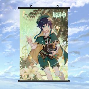 New Anime Poster Genshin Impact Venti Wall Scroll Art Home Decor 60*90CM