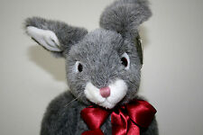 TY CLASSIC SMOKEY THE BUNNY GREY WITH A BURGUNDY RIBBON/RETIRED/FLUFFY PLUSH!