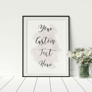 Personalised Custom Quote Caligraphy Style Watercolour Artwork