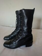 Enzo Angiolini Women's Size 7M Black Leather Lace up Knee High Riding Boots