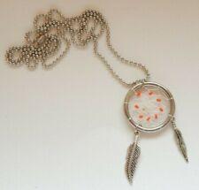 Dreamcatcher Necklace Pendant - Orange Stones and Metal Feathers - Valentines