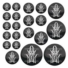 21 Premium Domed Round 3M Decal Sticker Set - WHITE PINSTRIPE - 030