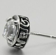 White CZ Stone Charm Stud 316L Stainless Steel Earring T038C