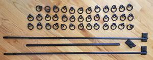 "Pottery Barn Cast Iron Black Finish Curtain Rod, 96-120"" with 38 Cast Iron Rings"