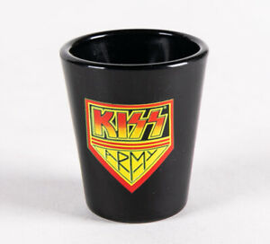 KISS Band Army Shield Logo Black Shot Glass 2006 Official Barware Gene Simmons