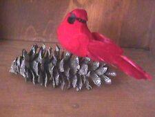 Miniature Cardinal Red Bird Figure on Real Pinecone