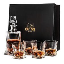 Van Daemon Crystal Whisky Decanter (750ml) & Set of 4 Glasses 300ml Gift Spirits